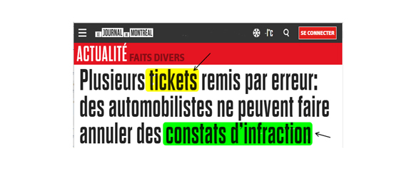 Ticket, contravention ou constat d'infraction?